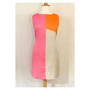 Tahari Sleeveless Woven Color Block Sheath
